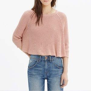 Madewell Blush Pink Linen Cotton Blend Crop Swing Cable Knit Sweater / Size L
